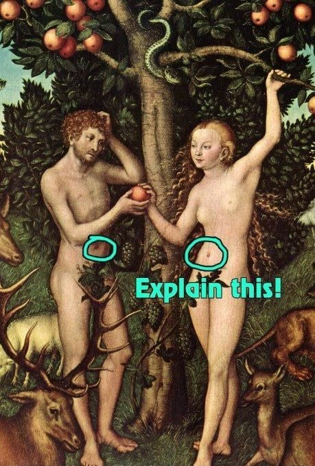Explain this - Adam and Eve by Lucas Cranach the Elder (1526)