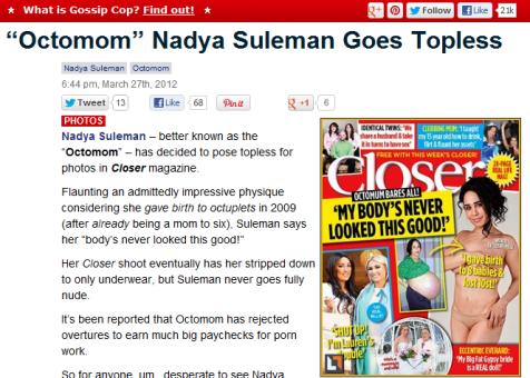 Nadya 'octomom' Suleman - Gossip Cop