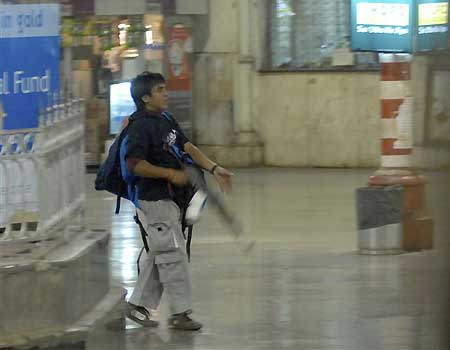 The Pakistani terrorist Ajmal Kasab at the Chatrapathi Sivaji Terminal railway station on November 26, 2008.