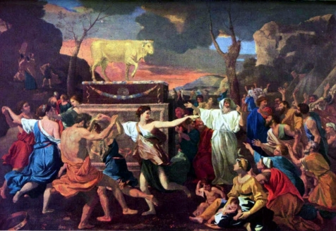 The Adoration of the Golden Calf by Nicolas Poussin, 1633-4