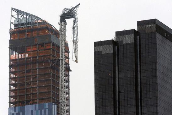 A crane dangles