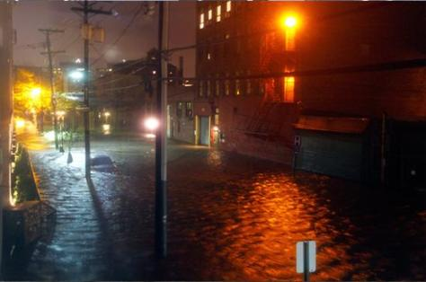 Floodwaters in Hoboken, New Jerse