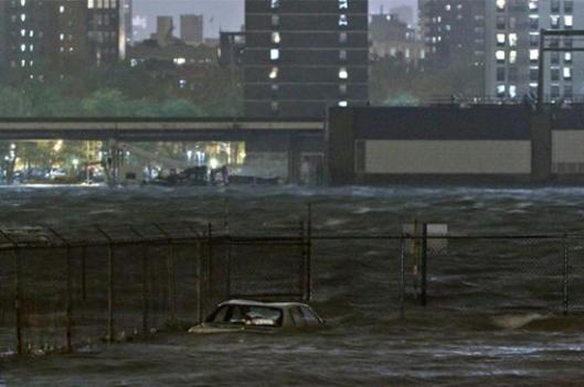 Submerged car in the Dumbo section of the Brooklyn