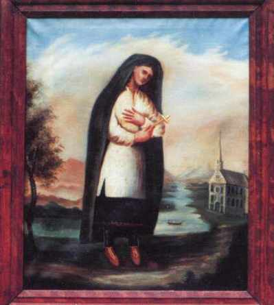 "The oldest portrait of Kateri Tekakwitha is an oil painting on canvas 41 x 37"" painted by Father Chauchetière between 1682-1693. Kateri appeared to him during that time. The original painting hangs in the sacristy of St. Francis Xavier Church on the Kanawaké Mohawk Reservation on the south bank of the St. Lawrence River, near Montréal, Québec."