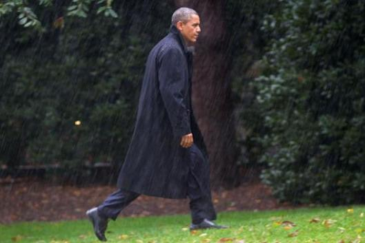 The President in the rain