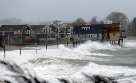 Waves crash on Scituate.