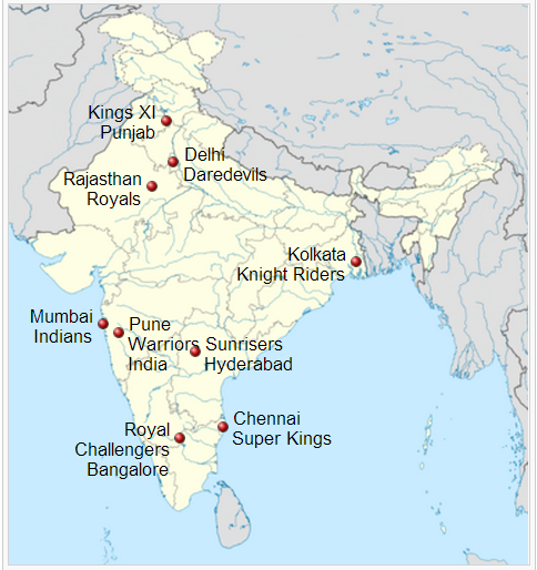 Locations of IPL Teams