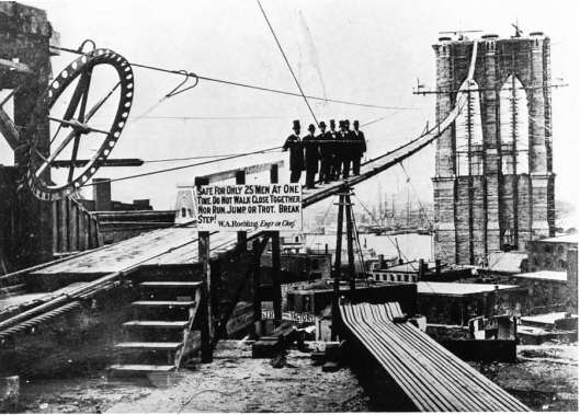 Brooklyn Bridge under construction. The photo shows the footbridges used by workers to access the towers while under construction. (Source - elizabethgaffney.net)