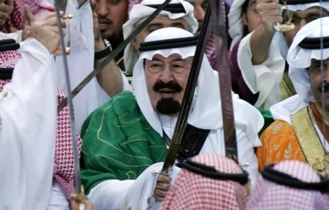 King Abdullah of Saudi Arabia with sword