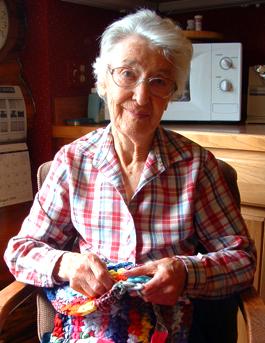 Old woman csrochetting