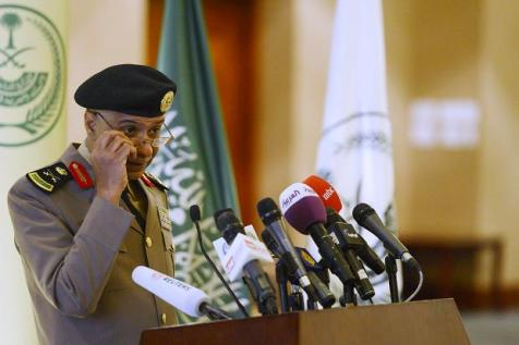 Saudi Arabia's Interior Ministry spokesman listens to a question during a news conference in Riyadh Stringer