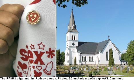 The RFSU badge and the Rödeby Church in Sweden