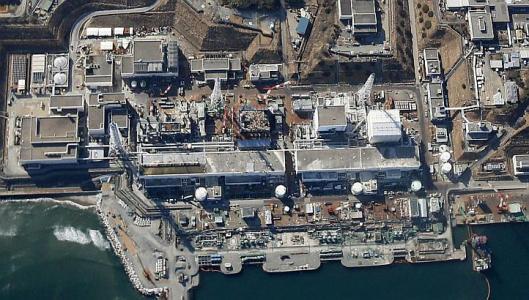 An aerial view of the reactor buildings at the tsunami-ravaged Fukushima Dai-ichi nuclear power plant in Okuma, Fukushima Prefecture, north-eastern Japan.