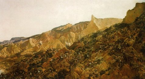 "Photograph of painting: ""Anzac, the landing 1915 by George Lambert (1873-1930), 1920–22. The painting depicts the Australian soldiers of the covering force (3rd Infantry Brigade) climbing the seaward slope of Plugge's Plateau which overlooks the northern end of  Anzac Cove. The view is to the north, towards the main range. The yellow pinnacle is ""The Sphinx"" and beyond is Walker's Ridge which leads to Russell's Top. The white bag that each soldier is carrying contains two days of rations which were issued specially for the landing."