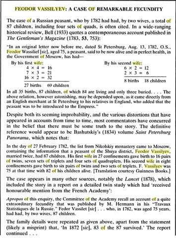 Feodor Vassilyev - A case of remarkable fecundity - 1