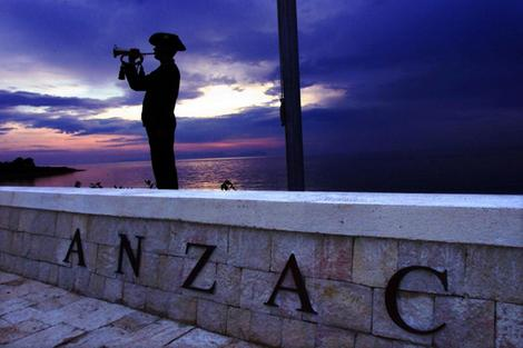 Last post being sounded at North Beach, Gallipoli. Photo Mike Bowers, Sydney Morning Herald