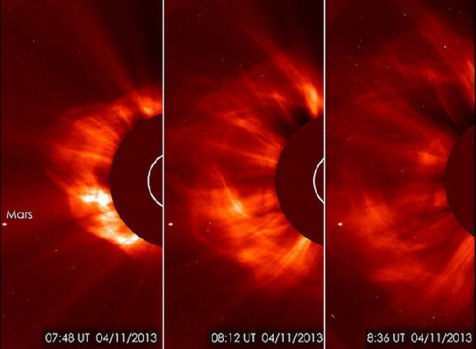 Massive solar eruption April 11, 2013