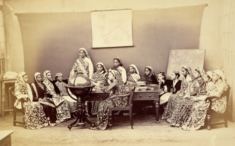 Vintage Photograph of a Class in the Alexandra Native Girls' Institution at Bombay (Mumbai) - 1873