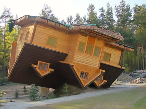 The upside down house in the village of Szymbark , Poland