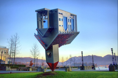 This is not a house, it is a statue in Vancouver, Canada (Image credits - papalars)