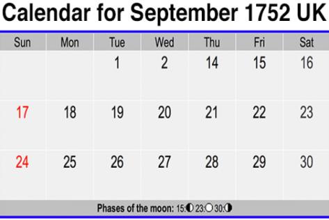 Calendar for September 1752