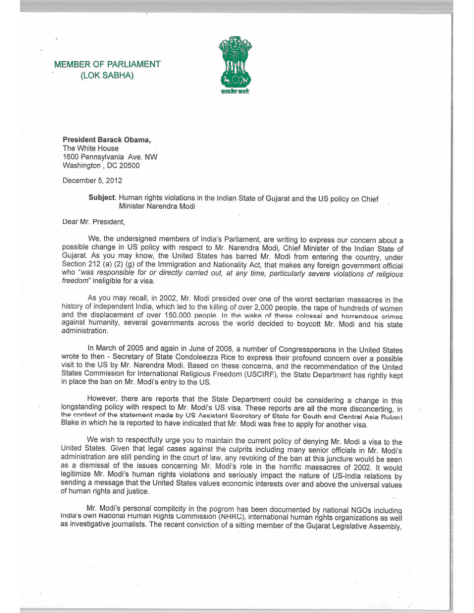 Letter to Obama requesting him to continue denying visa to Narendra Modi - 1