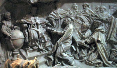 Pope Gregory XIII celebrating the introduction of the Gregorian calendar. Detail of the pope's tomb by Camillo Rusconi.