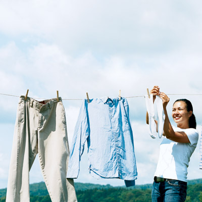 Hanging washed laundry (Photo - Rob Howard)