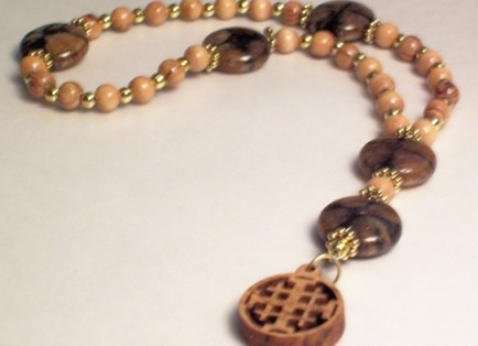 An Anglican Rosary made of Olive Wood & Chiastolite