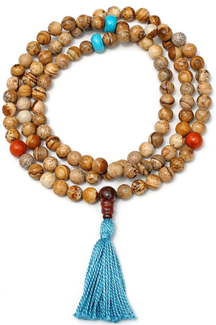 Hindu/Buddhist 108-bead mala of  jasper with turquoise howlite and red bamboo coral marker beads.