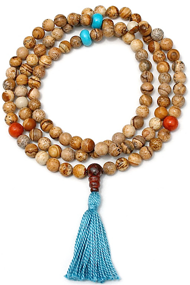 108-bead mala of  jasper with turquoise howlite and red bamboo coral marker beads.