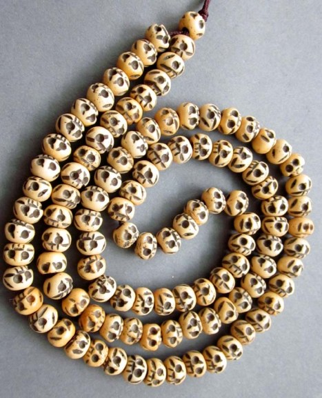Tibetan Buddhist 108 Ox Bone Skull Prayer Beads Mala