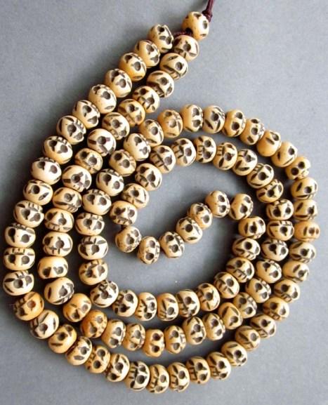Tibetan Buddhist 108 Ox Bone Skull Prayer Beads Mala