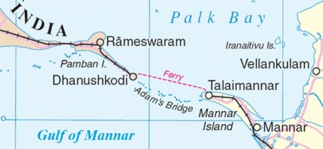 Adam's Bridge separating Gulf of Mannar from Palk Bay
