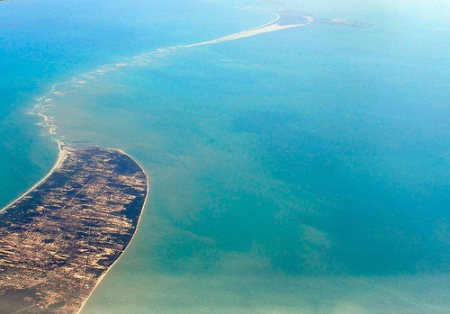 Aerial view of Mannar Island and Adam's Bridge.