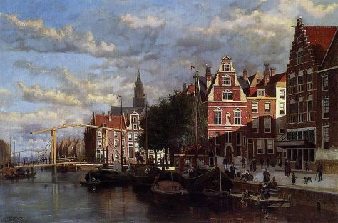 A canal in amsterdam - Oil painting by Johannes Frederik Hulk sr. (1829–1911)