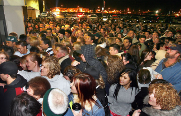 Black Friday - People waiting outside a mall.