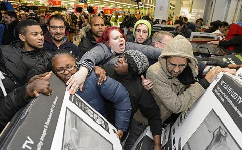 Black Friday: Only in America, you find people, who just 24 hours after offering thanks for how much they already have behave like crazed animals frenziedly trampling each other to buy more stuff that they already have or absolutely do not need.