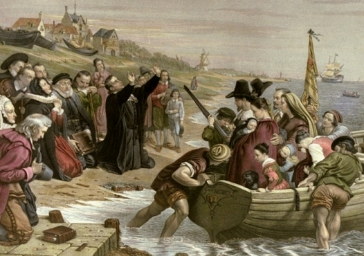 Departure of the Pilgrim Fathers from Delftshaven for New England (Engraved by T.W.Knight after a picture by Charles West Cope). Pastor John Robinson blessing the Separatists leaving for New England.