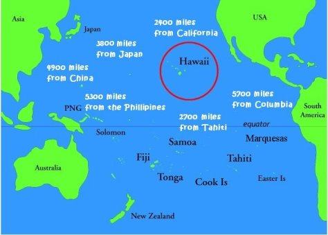 Hawaii map - Distance from other countries (Source: Padi.com)