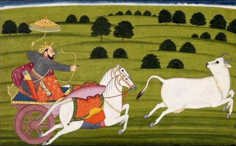 King Prithu chasing Prithvi.