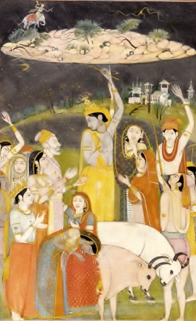 Krishna holding Govardhan Hill to save his people.