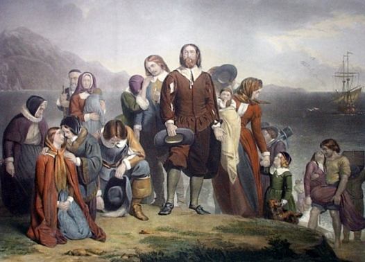Landing of the Pilgrim Fathers (Engraved by W.H. Simmons after a picture by Charles Lucey)