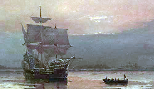 Mayflower in Plymouth Harbor by William Halsall, 1882 -  Pilgrim Hall Museum, Plymouth, Massachusetts, USA