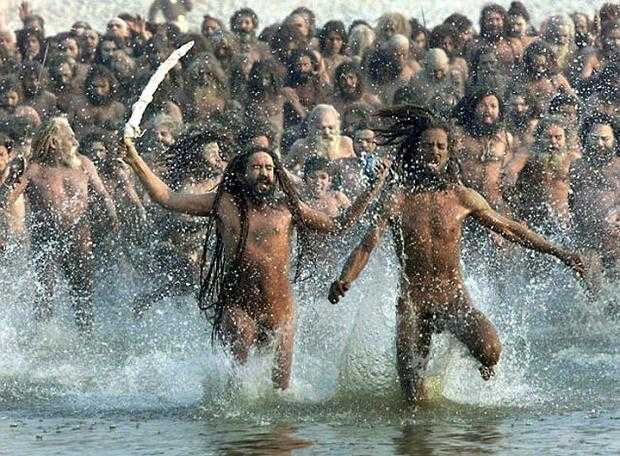 Naga sadhus who had gathered at the Allahabad Maha Kumbh Mela 2013.