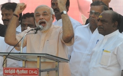 Narendra Modi addressing the crowds after his arrival at the Chennai Airport. (AS Ganesh | ENS)