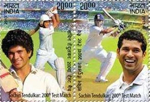 Two Postage Stamps to honour Sachin Tendulkar