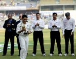 The MCA honoured Sachin Tendulkar with a trophy. (FE photo - Ravi Kanojia)
