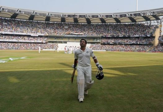 Sachin Tendulkar walking back to the pavillion (Image - Cricinfo)