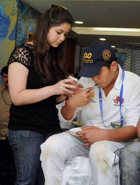 Sachin Tendulkar's daughter Sara along with brother Arjun.